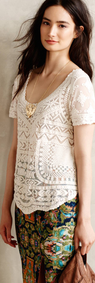 Anthropologie Embroidered Mesh Tee