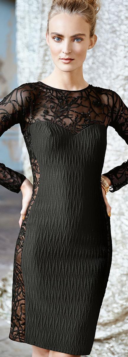 Long Sleeve Lace Illusion Dress