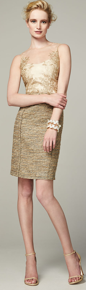 Kay Unger Gold Cocktail Dress