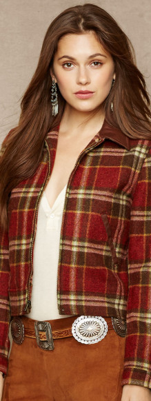 Leather Trimmed Plaid Jacket