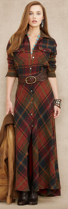Blue Label Plaid Wool Cashmere Maxidress