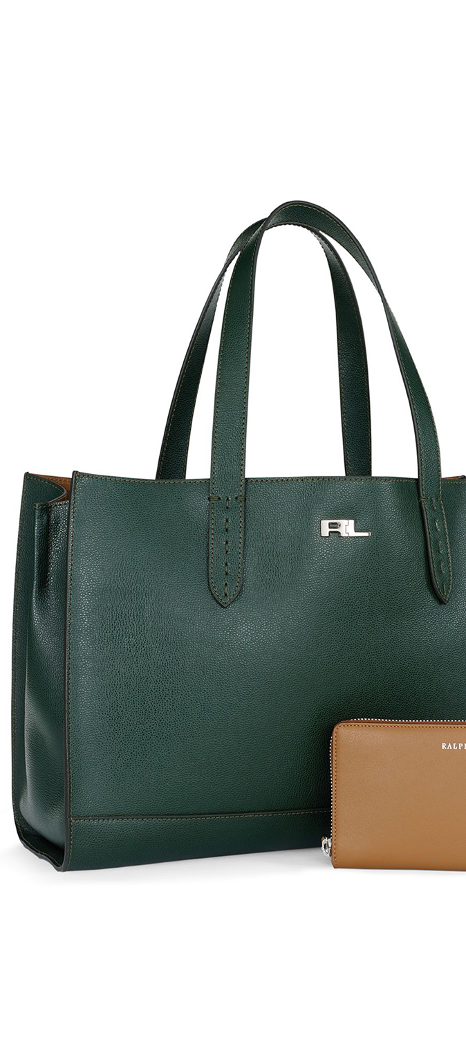 Zip Pocket Leather Tote