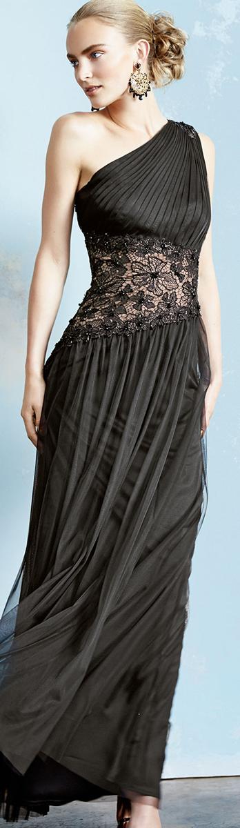 Tadashi Shoji One Shoulder Lace Inset Gown