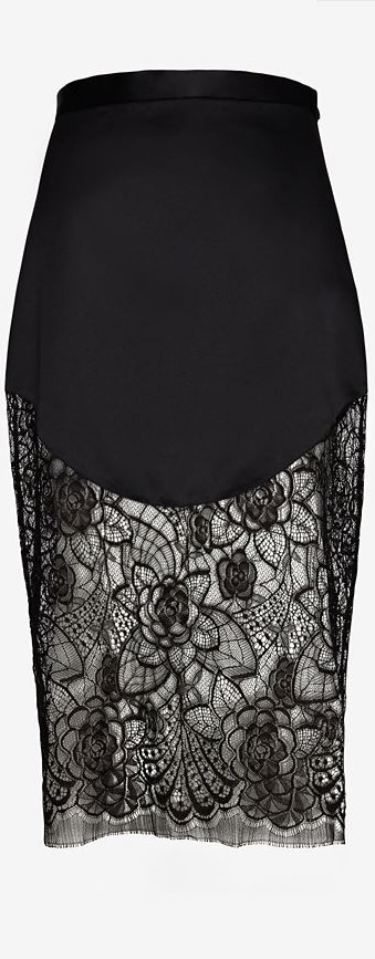 Lover Lotus Lace Hem Pencil Skirt