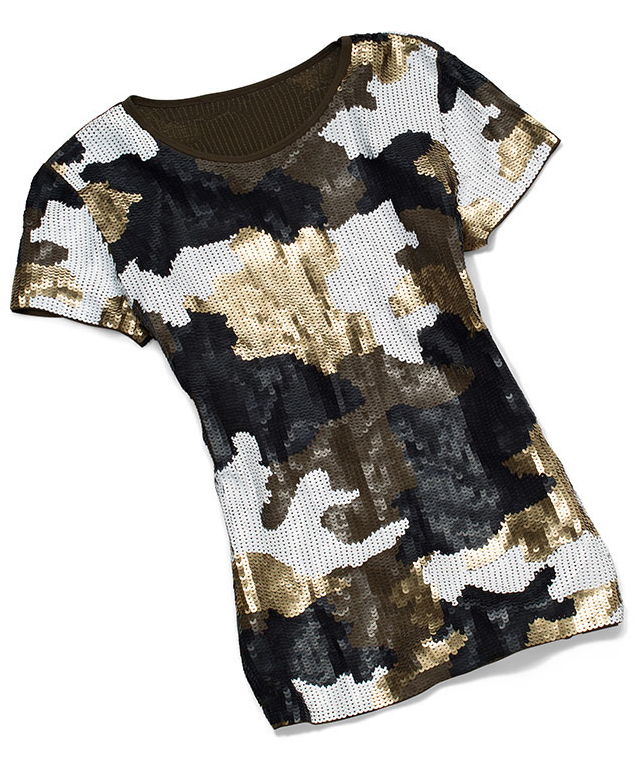 Camouflage Print Sequined Top