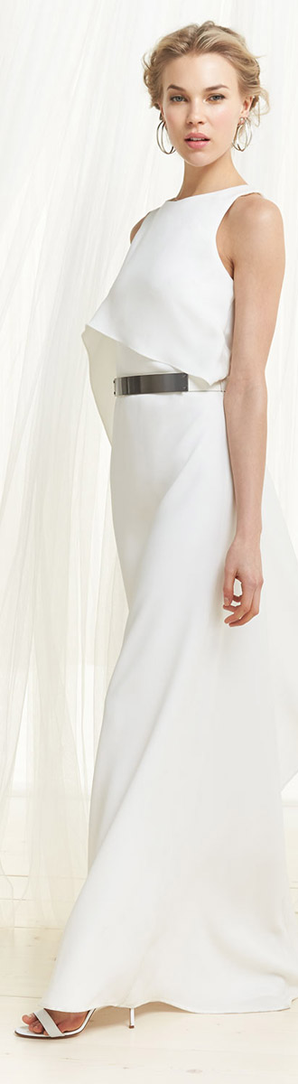 Halston Heritage White Evening Dress