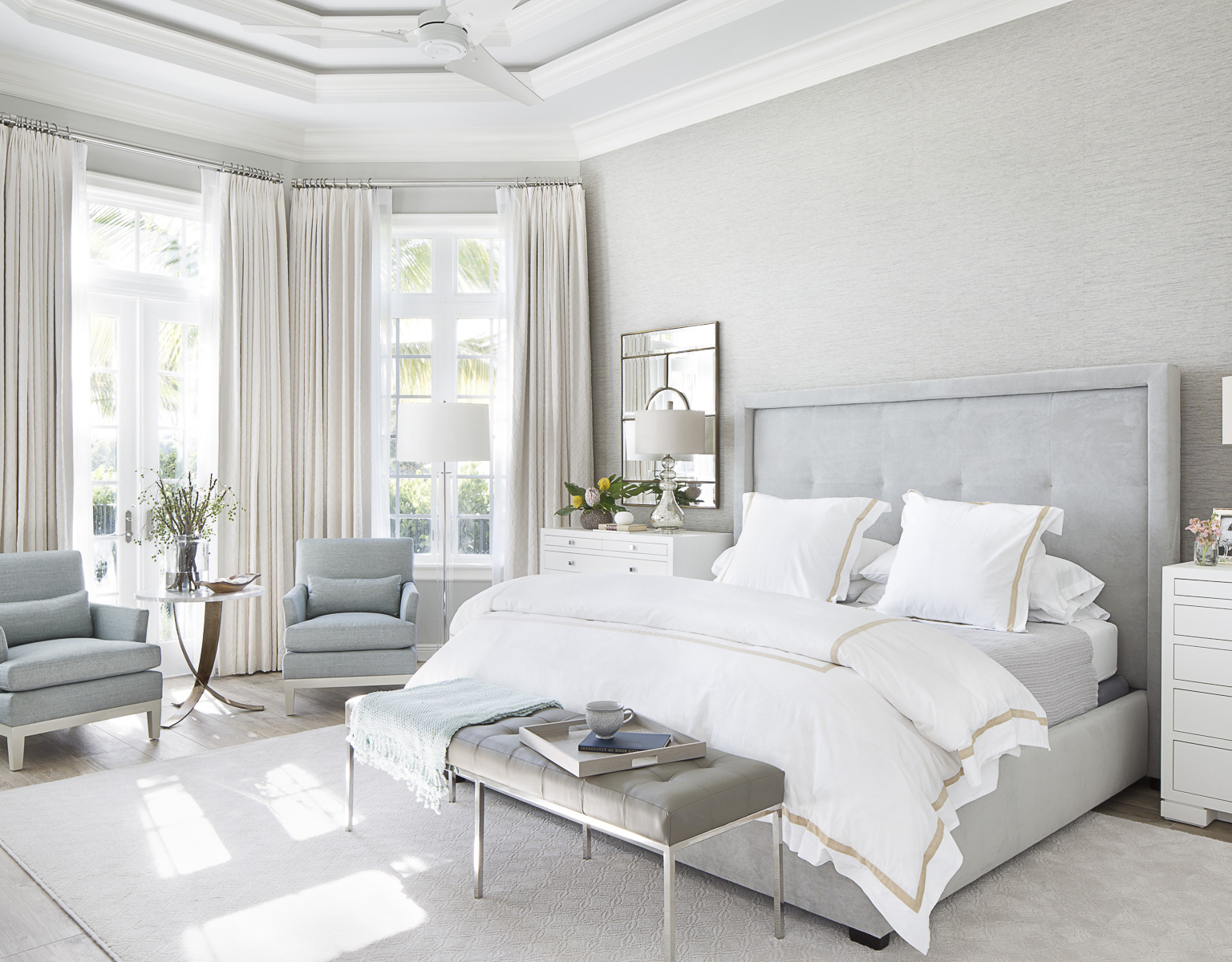 Serene Bedroom In Soft Gray White And Cream Colors